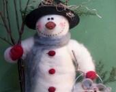 Sam the Snowman Felted Wool  Sculpture