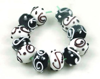 LAMPWORK Glass Black White Scoll Rondelle Beads (12 pc) (L647)