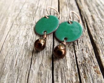Green Dangle Earrings - Copper Earrings - Green Enamel Earrings - Bronze Dangle - Emerld Green - Enamel on Copper