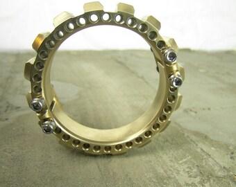 steampunk mechanical industrial brass cog bracelet