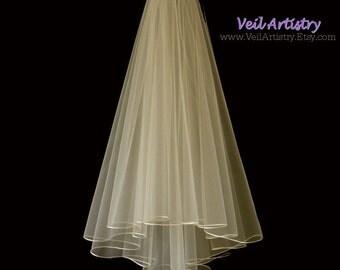 Bridal Veil, Radiance Veil, 2 Tier Bridal Veil, Satin Cord Edge Veil, Fingertip Veil, Made-to-Order Veil, Handmade Veil