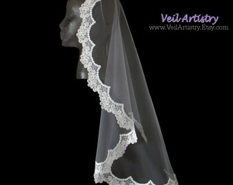 Bridal Veil, Mantilla Bridal Veil, Mantilla Veil, Re-embroidered Lace Edge Veil, Lace Veil, Made-to-Order Veil, Handmade Veil