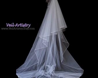 Long Bridal Veil, Radiance Veil, 2-Tier Veil, Satin Cord Edge Veil, Chapel Veil, Made- to-Order Veil, Bespoke Veil