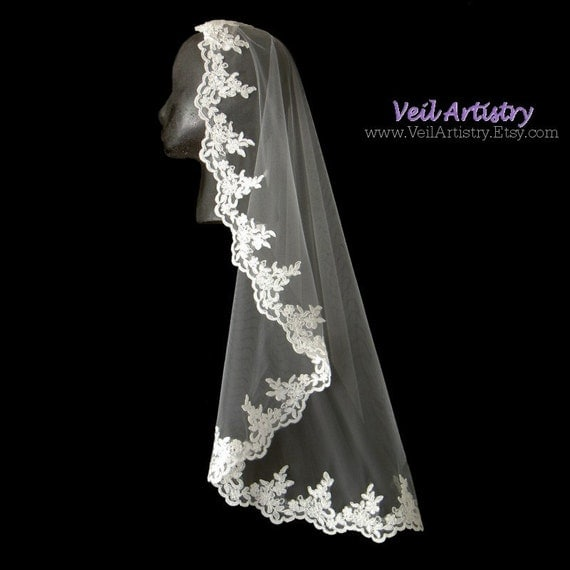 Bridal Veil, Mantilla, Mantilla Veil, Mantilla Wedding Veil, Re-embroidered Lace Veil, Lace Mantilla, Made-to-Order Veil, Handmade Veil