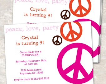 PRINT & SHIP Peace Love and Party Birthday Party Invitations (set of 12) >> personalized and shipped to you | Paper and Cake