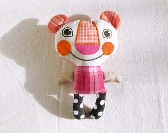 Plush Bear Recycled Fabric Doll Patchwork Pink Orange