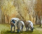 fall landscape painting fall art PRINT fall decor fall decoration sheep painting sheep animal 11x14 watercolor farm lamb painting lamb