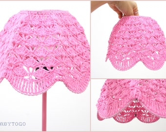 Crochet Lampshade - Pink