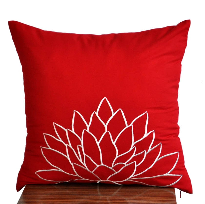 Throw Pillow Covers Set : White Lotus Throw Pillow CoverDecorative Pillow Cover Red