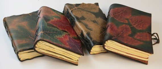 Unique Book Collection Of Autumn Leaves Texture Leather Journals