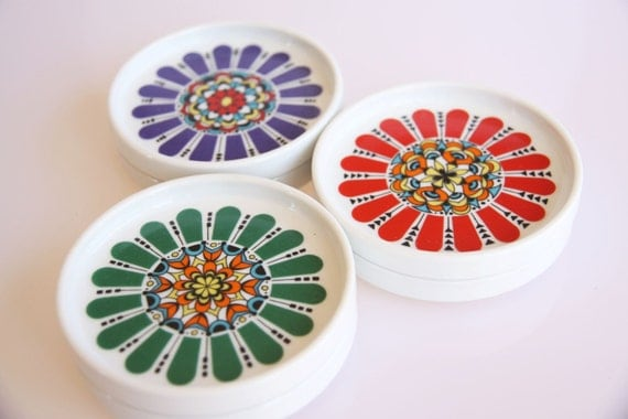 Funky colorful set of of 60s floral coasters made by Bavaria