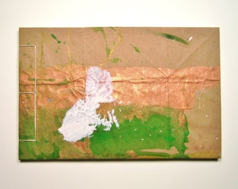 Sketchbook, Copper, Green and White  - Recycled Materials - Painted Brown Paper Bag Cover - Stab Bound