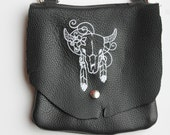 Leather Hip Bag with Cow Head Skull