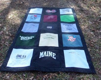 Custom Made Tee Shirt Quilt from 15 of your Own Tshirts