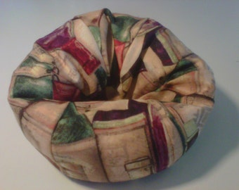 Cell Phone Bean Bag Chair or Kindle Kouch (eReader Rest) Wine Bottles Green Maroon and Beige