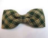 Dark Hunter Green Tan Plaid New Bow Tie Men Adjustable Pretied Handmade Bowtie Homespun Cotton Gustys