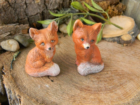 2  Fox  for your miniature Gnome gardens  Terrariums