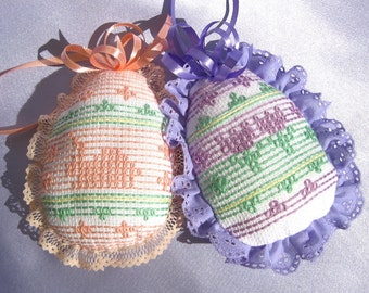 Easter Egg Ornaments Huck Weaving Embroidery Eggs Embroidered Easter Eggs Easter Egg Pillows Easter Tree Easter Decoration Easter Ornament