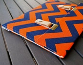 "11 inch MacBook Air Case / 11"" MacBook Air Cover / Microsoft Surface Pro 4 Case / 13 MacBook Air - Chevron Navy Blue and Orange"