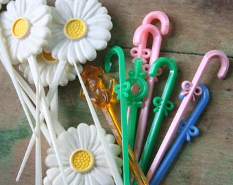 Vintage Plastic Toothpicks / Cupcake Decorations - Lot of 16