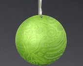 Lime green earrings. Anodized aluminum earrings with an embossed etched pattern-incredibly lightweight.