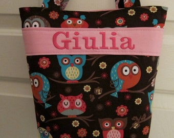Owls Kids Tote, Flower Girl Tote, Crayon Roll, Personalized, Design Your Own, 100s Fabric Choices