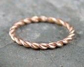 Rose Gold Band - Twist Band - 14K Rose Gold Ring - Stacking Ring - 14K Pink Gold Wedding Band - Friendship Ring