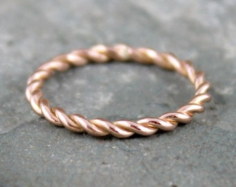 Rose Gold Band - Twist Band - 14K Rose Gold Ring - Stacking Ring - 14K Pink Gold Wedding Band - Friendship Ring