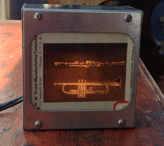 TRUMPET & CLARINET Vintage Magic Lantern Glass Slide Light