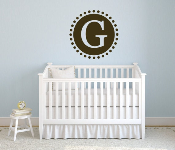 Children Circle Wall Decal - Circle and Initial Decal  DB147