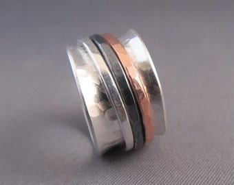 Spinner Ring in Sterling Silver, Three Spinners, copper and silver