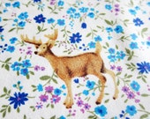 Japanese Cotton Fabric - Woodland Animals in Blue Floral - Half Yard - theheydayshop