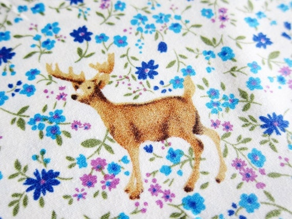 Japanese Cotton Fabric - Woodland Animals in Blue Floral - LAST PIECE