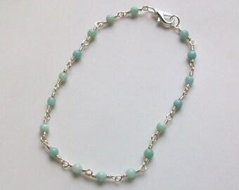 Aqua Quartz Gemstone Wire Wrapped Chain Link Anklet - Ankle Bracelet