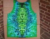 Mens Blue Greens Tie Dye Tank Size XL