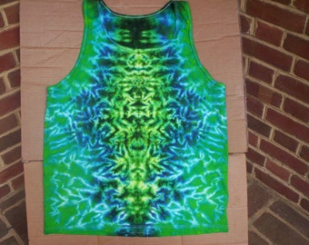 Mens Blue Greens Tie Dye Tank Size XL