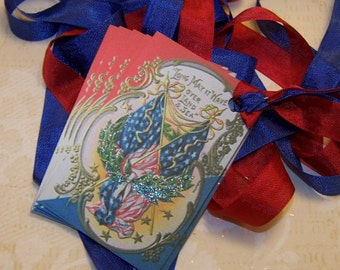 4th of July Tags Americana Tags Patriotic Tags Vintage Style - Set of 6