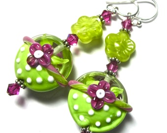 Green Pink Lentil Flower Earrings Lampwork Earrings Glass Earrings Lime Green Earrings, Floral Earrings, Handmade Earrings, Artisan Earrings