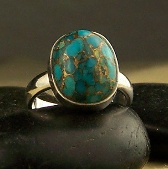 Gold Vein Mojave Turquoise Sterling Silver Ring Size 6 5