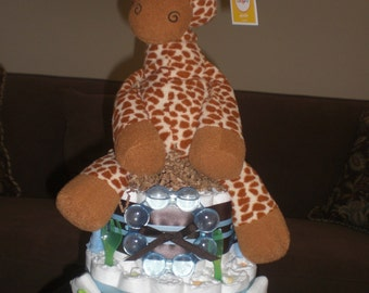 Giraffe Safari Diaper Cake Jungle Boogie Baby shower gift or centerpiece other animals available