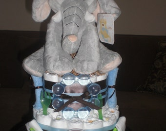 Elephant Safari Diaper Cake Jungle Boogie Baby shower gift or centerpiece other animals available