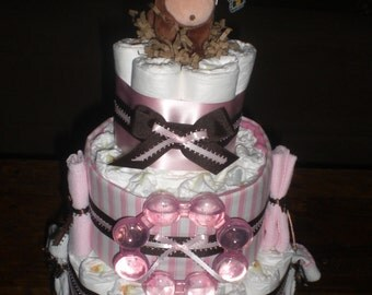 Pink and Brown Monkey Diaper Cake Baby Shower Centerpiece other toppers and colors too