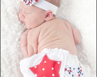Newborn Bloomers Red White and Blue Star Applique Patriotic Fourth of July Pantaloons and Matching Hair Clip