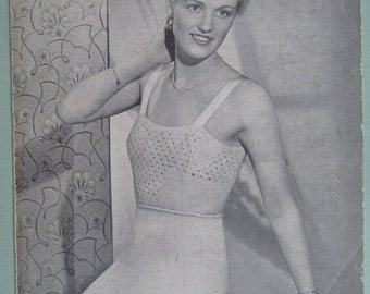 Vintage Knitting Pattern 1930s 1940s Womens Lingerie Vest and Knickers Underwear Undies 30s 40s original knitting pattern UK