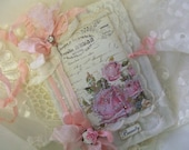 Vintage French Shabby Lace Collage Mini Journal With Shabby Roses and Ribbons