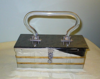 50s lucite / woven metal handbag / box purse