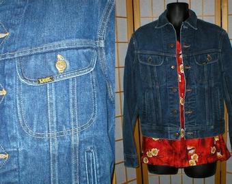 Vintage 80s Lee medium blue denim  jean jacket  mens size 40 long