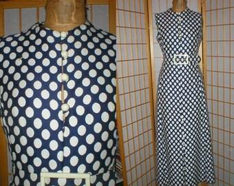 Vintage 70s blue / white polka dot polyester maxi dress womens size large