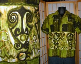 Vintage 50s / 60s green hawaiian print shirt mens size medium