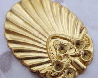 Vintage 4 Brass Art Deco Fancy Brass Setting Findings 38X29MM H1R